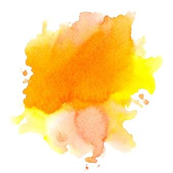 Pincel aquarela laranja no papel.