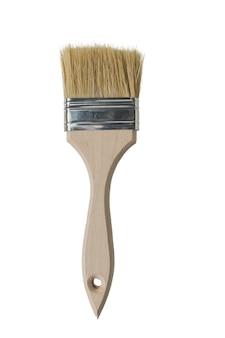 Pincel com cerdas grossas isoladas em uma superfície branca. materiais para pintura.