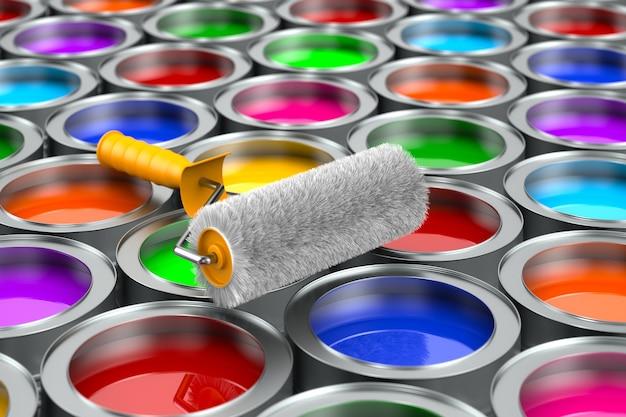 Pincel e latas com cores. renderização 3d