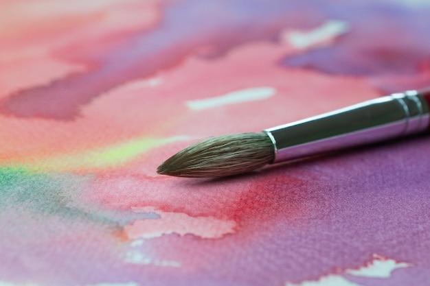 Pincel pintura cor pastel em papel de lona ou papel branco