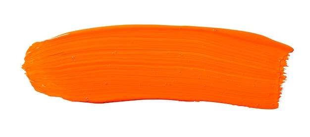 Pincelada de amarelo alaranjado isolada no fundo branco. traço abstrato laranja. pincelada de aquarela colorida.