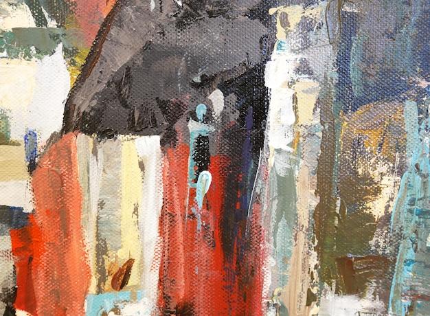 Pinceladas coloridas de fundo abstrato pincel textura fragmento de pintura acrílica sobre tela