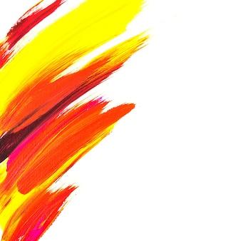 Pinceladas de acrílico de cores vivas amarelo vermelho roxo pintura de fundo abstrato na tela