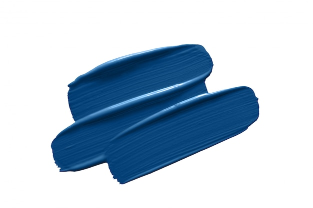 Pinceladas de tinta azul clássica isoladas