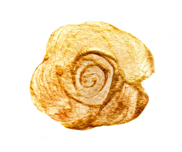 Pinceladas redondas abstratas com tinta dourada