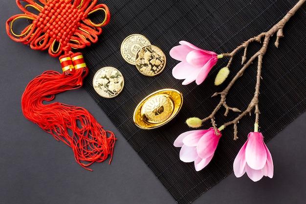 Pingente e moedas de ouro ano novo chinês
