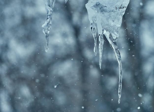Pingentes de gelo transparentes pendurados no telhado no inverno