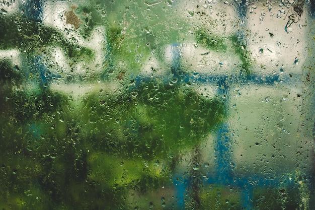 Pingos de chuva no vidro com plantas verdes no fundo.