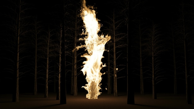 Pinheiro em chamas na floresta à noite