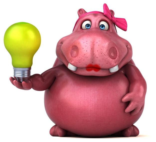 Pink hippo - ilustração 3d