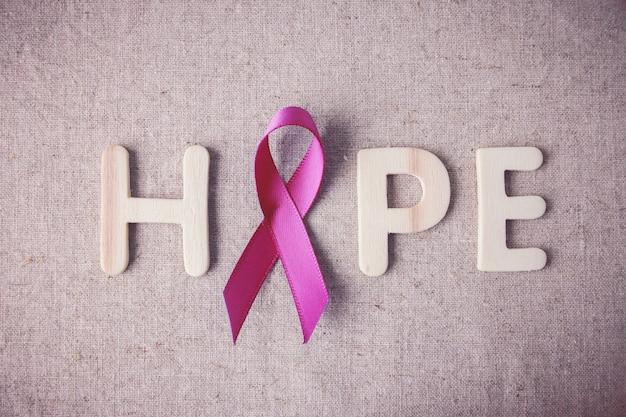 Pink ribbon and hope, conscientização do câncer de mama