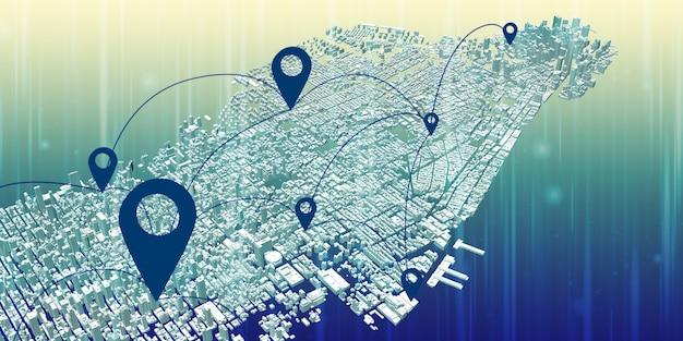 Pino do mapa acima da vista da cidade e o conceito de conexão de rede sistema de comunicação gps 5g e 6g