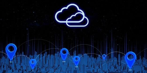 Pinos de gps e transmissão por satélite grande cidade cheia de edifícios altos atribuição de coordenadas em um mapa de navegação de ilustração 3d