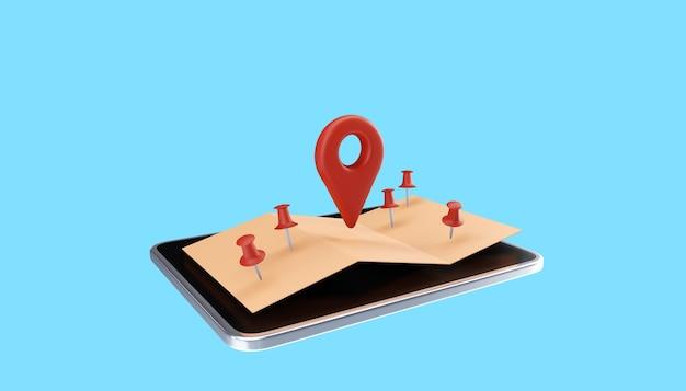 Pinos do mapa 3d, gps, pontos de verificação do pino do navegador. ilustração 3d