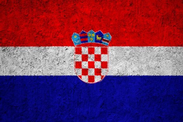 Pintado a bandeira nacional da croácia em uma parede de concreto