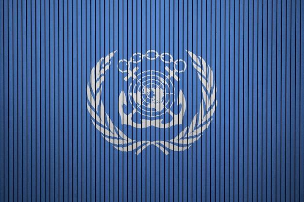Pintado, bandeira, de, internacional, organização marítima, ligado, um, concreto, parede