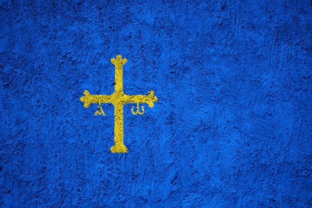 Pintado, bandeira nacional, de, asturias, ligado, um, concreto, parede