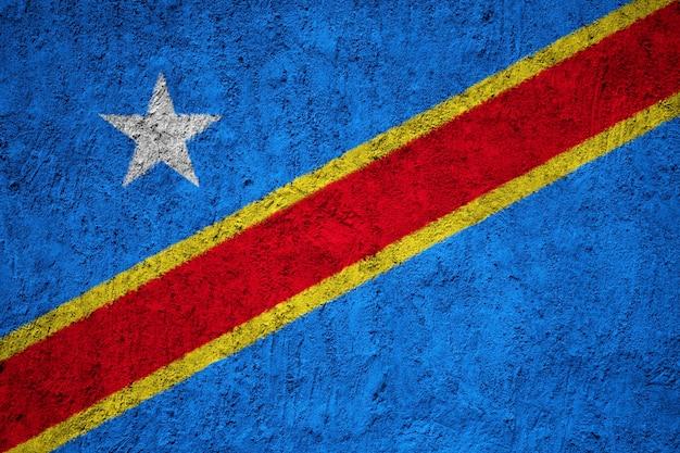 Pintado, bandeira nacional, de, democrático, república congo, ligado, um, concreto, parede