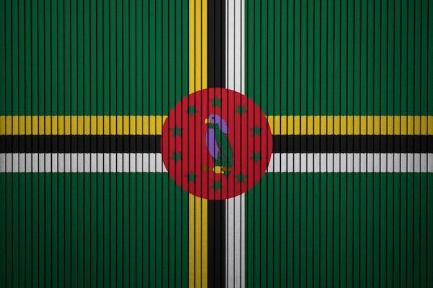 Pintado, bandeira nacional, de, dominica, ligado, um, parede concreta