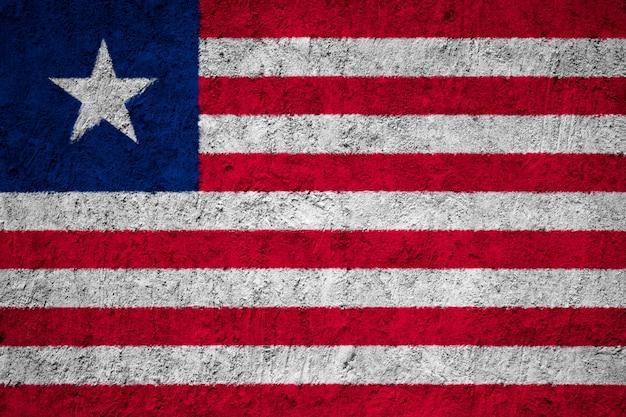 Pintado, bandeira nacional, de, liberia, ligado, um, concreto, parede