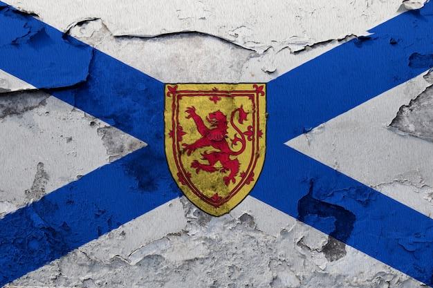 Pintado, bandeira nacional, de, nova escócia, ligado, um, concreto, parede