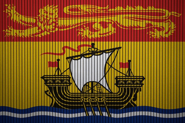 Pintado, bandeira nacional, de, novo brunswick, ligado, um, concreto, parede