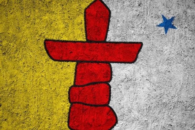 Pintado, bandeira nacional, de, nunavut, ligado, um, concreto, parede