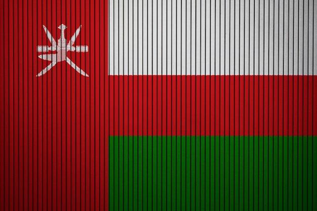 Pintado, bandeira nacional, de, oman, ligado, um, concreto, parede