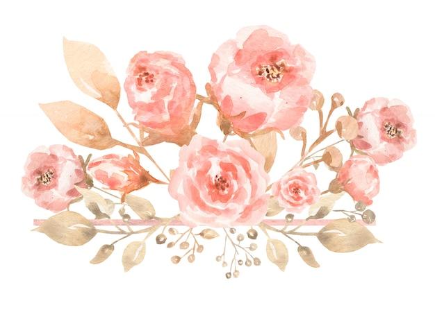 Pintado em aquarela composição do buquê de flores em tons pastel delicados.