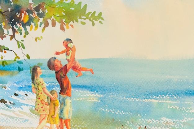 Pintar colorido da praia e da família no fundo da nuvem de emoção.