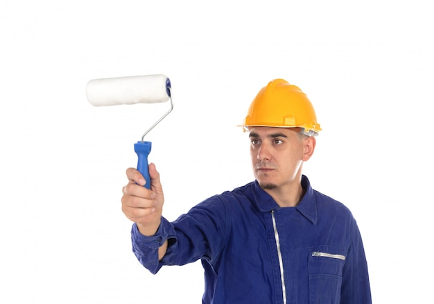 Pintor de construção com capacete amarelo