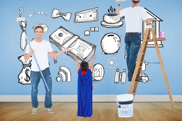 Pintores de desenho em uma parede