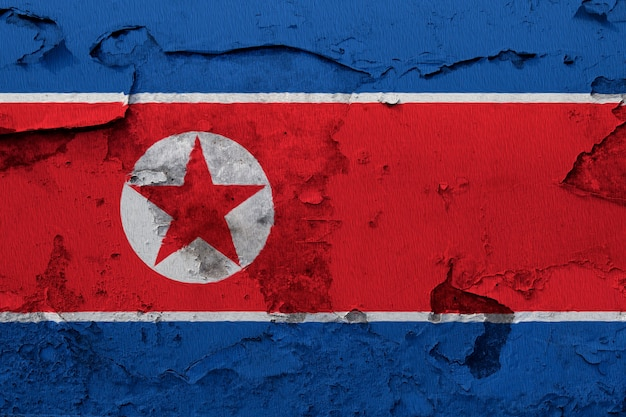 Pintou a bandeira nacional da coreia do norte em uma parede de concreto