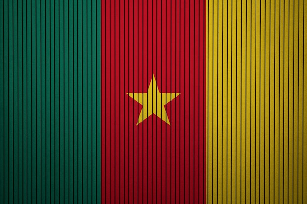 Pintou a bandeira nacional dos camarões em uma parede de concreto