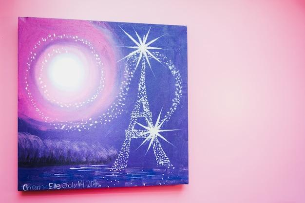 Pintura a água de paris à noite com fundo estrela e lua
