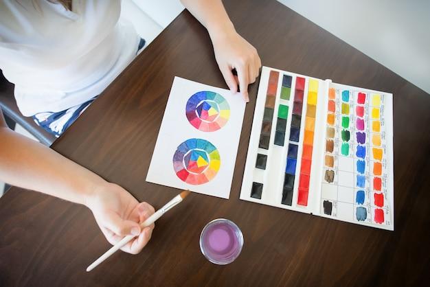 Pintura à mão com aquarela