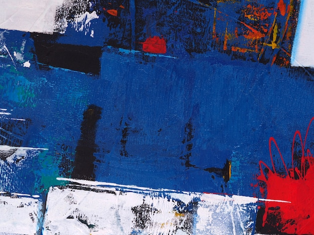 Pintura a óleo abstrata forma azul no fundo da tela com textura.
