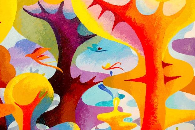 Pintura a óleo colorida original e acrílica colorida sobre tela.