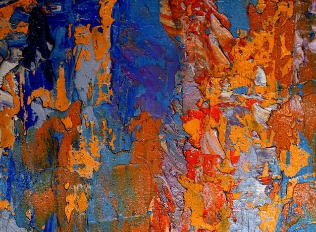 Pintura a óleo colorida sobre fundo abstrato de lona com textura.