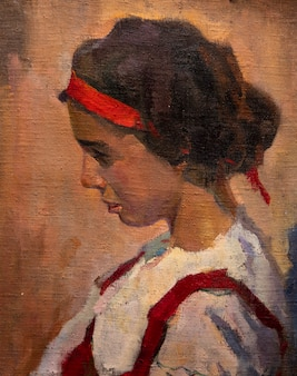 Pintura a óleo retrato desenho feito à mão