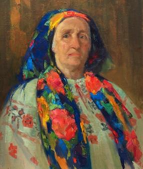 Pintura a óleo, retrato feminino, feito à mão