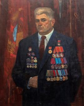Pintura a óleo, retrato masculino, feito à mão