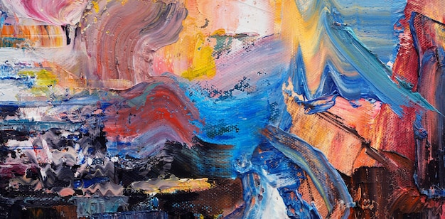 Pintura a óleo sobre tela abstrata com textura panorama.