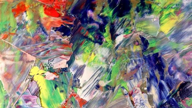 Pintura a óleo sobre tela com fundo abstrato colorido