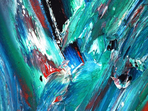 Pintura a óleo verde abstrato e textura sobre tela
