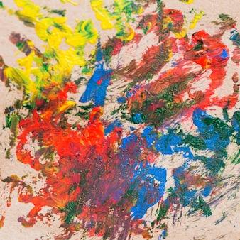 Pintura abstrata colorida desarrumada na lona