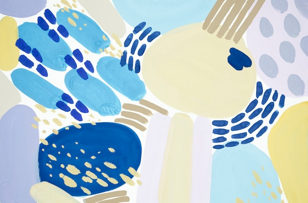 Pintura abstrata com acrílicos azuis