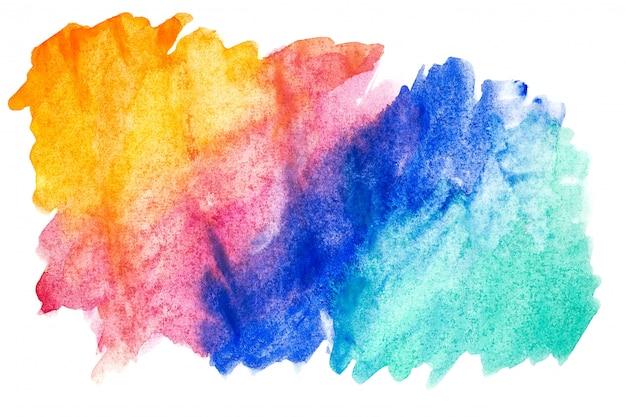 Pintura abstrata da mão da arte da aguarela no fundo branco.