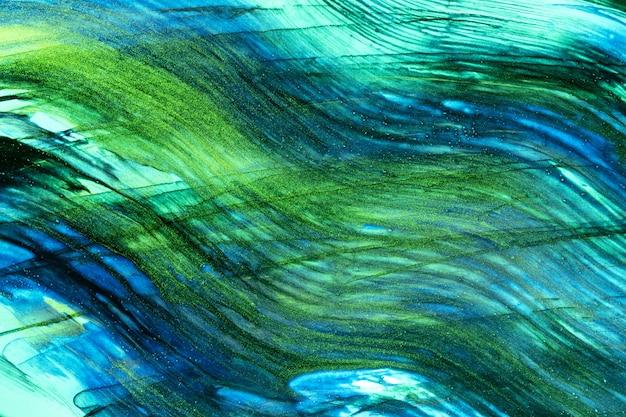 Pintura abstrata em aquarela de cores azuis e verdes com traços de fundo acrílico
