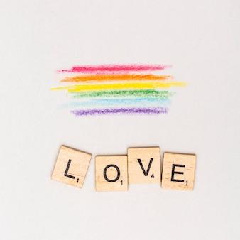 Pintura abstrata multicolorida lgbt e texto amor